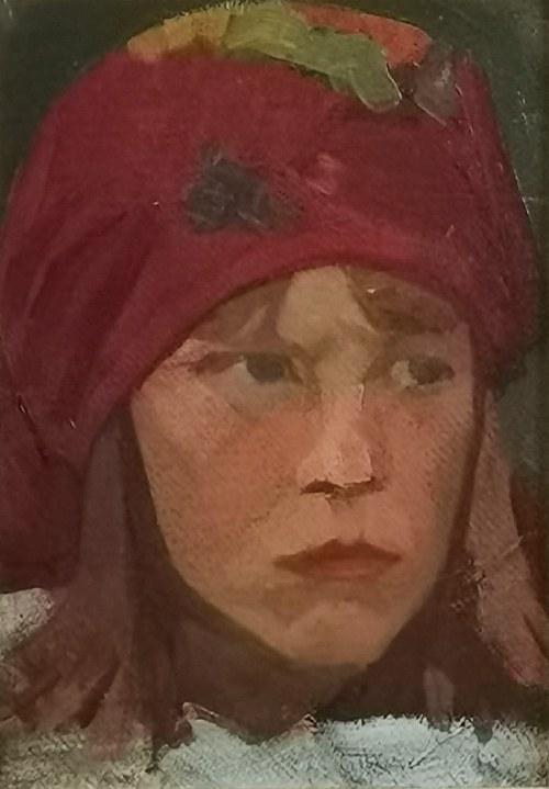Bolesław BARBACKI (1891-1941), Portret dziewczynki w berecie, 1937