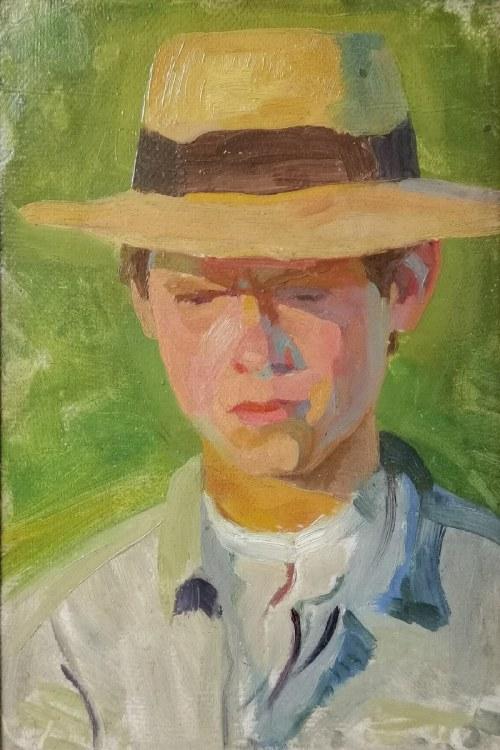 Bolesław BARBACKI (1891-1941), Portret młodzieńca w kapeluszu, 1937