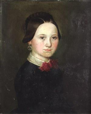 Malarz nieokreślony, XIX w., Portret kobiety z czerwoną kokardą
