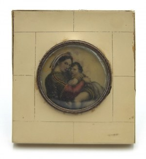 Malarz nieokreślony (XIX/XX w.), Madonna della Sedia - wg Rafaela - miniatura