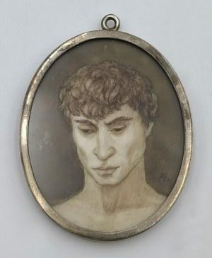 Malarz nieokreślony, pocz. XX w., Głowa młodzieńca - miniatura