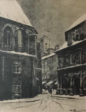 """Odo DOBROWOLSKI (1883-1917), Widok na Ratusz, z teki: """"Lwów"""", 1915"""