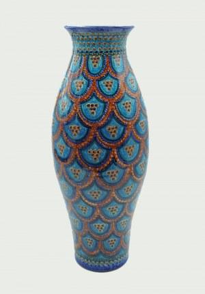 Pracownia ceramiczna Jürgel Keramik (C. u. M. Jürgel), Wazon z dekoracją ornamentem brązowo- niebieskiej wachlarzowej łuski