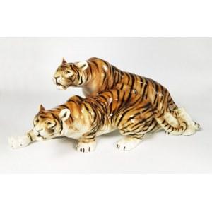Duxer Porzellanmanufaktur AG (zał. 1853, od 1992 Royal Dux Bohemia), Dwa skradające się tygrysy