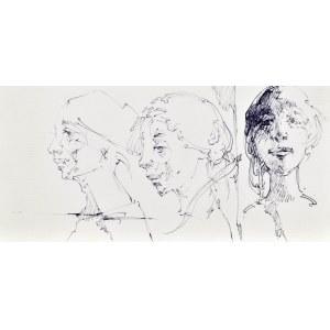 Roman BANASZEWSKI (1932-2021), Szkice popiersia kobiet w różnych ujęciach