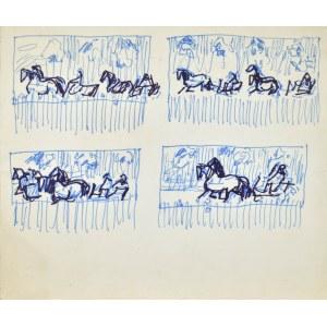 Ludwik MACIĄG (1920-2007), Cztery szkice kompozycyjne z motywami koni
