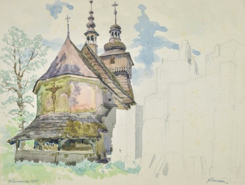 Józef PIENIĄŻEK (1888-1953), Drewniany kościół, Wilamowice 1938