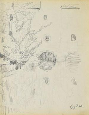 Eugeniusz ZAK (1887-1926), Motyw miejski z rzeką i zabudową (Pont - Aven?)