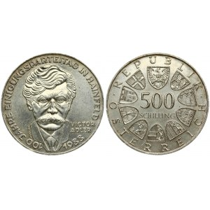 Austria 500 Schilling 1988 100th Anniversary - Victor Adler and Christian Socialist Party. Averse...