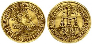 Germany BRESLAU 1 Ducat 1630 Ferdinand II(1619-1637). Averse: Christ on cross; balance scale over date divided by arms...