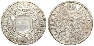 Germany ULM 1 Thaler 1635 HL Averse: Angel head above pointed shield; flowers and cornucopia beside; HL below. Reverse...