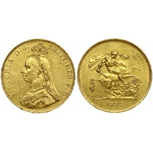 Great Britain 5 Pounds 1887 Victoria(1837-1901). Averse: Bust left wearing small crown and veil. Averse Legend...