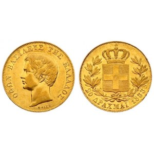 Greece 20 Drachmai 1833 Othon(1832-1862). Averse: Head left. Reverse: Crowned arms within branches. Gold. KM 21; Divo 9...