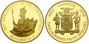 Jamaica 250 Dollars 1978  25th Anniversary of Coronation. Elizabeth II(1952-). Averse: Arms with supporters. Reverse...