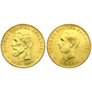 Romania 100 Lei 1906(b) 40th Anniversary - Reign of Carol I. Carol I(1866-1914). Averse: Bearded head left. Reverse...