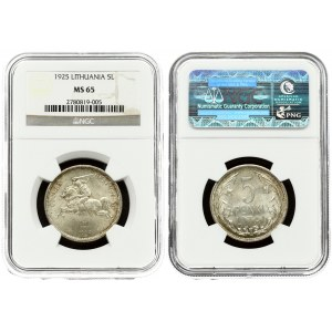 Lithuania 5 Litai 1925 Averse: National arms. Reverse: Value within flowered flax wreath. Edge Description: Milled...