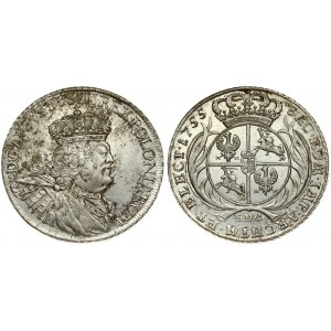 Poland 1 Thaler 1755 EDC Friedrich August II(1733-1763). Averse: Large legends. Averse Legend...