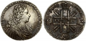 Russia 1 Rouble 1728 Moscow. Peter II (1727-1729). Petersburg type . Averse: Laureate bust right. Reverse...