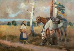 Jerzy Kossak (1886 Kraków - 1955 tamże), Spotkanie, 1941 r.