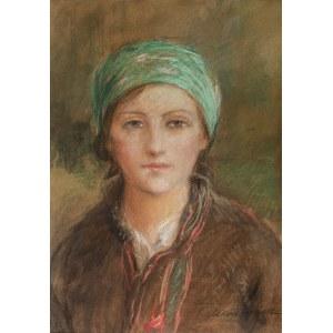 Teodor Axentowicz (1859 Braszów/Rumunia - 1938 Kraków), Portrte dziewczyny w zielonej chustce