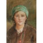 Teodor Axentowicz (1859 Braszów/Rumunia - 1938 Kraków), Portret dziewczyny w zielonej chustce