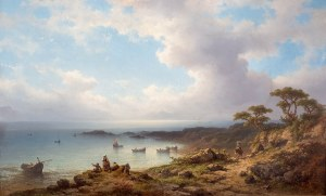 Johannes Hilverdink (Groningen 1813-1902 Amsterdam), Pejzaż śródziemnomorski, 1873 r.