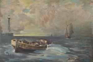 Marian Mokwa (1889 Malary - 1987 Sopot), Łodzie na morzu