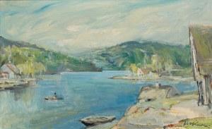 Marian Mokwa (1889 Malary - 1987 Sopot), Pejzaż z jeziorem