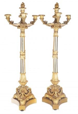 Para kandelabrów 3-świecowych, Francja, początek XIX w.