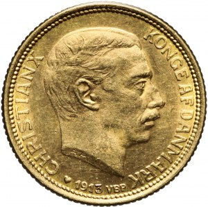 Dania, 10 koron 1913, Christian X, piękne