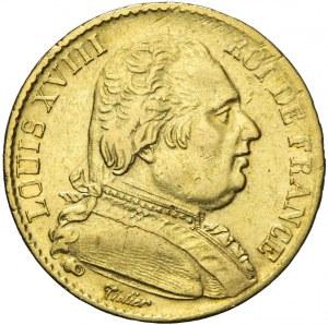 Francja, Ludwik XVIII, 20 franków 1815 A, Paryż
