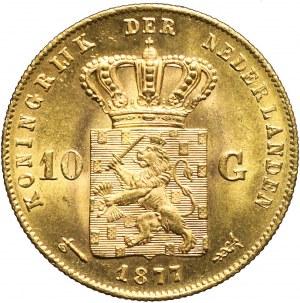 Holandia, 10 guldenów 1877, Wilhelm III, piękne