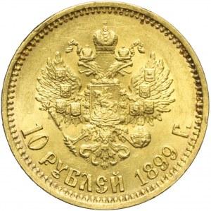 Rosja, Mikołaj II, 10 rubli 1899 AГ, Petersburg