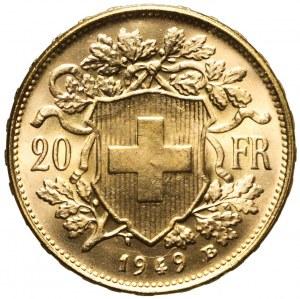 Szwajcaria, 20 franków 1949, piękne