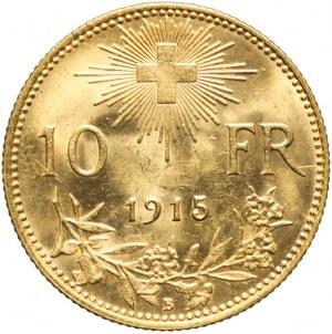 Szwajcaria, 10 franków 1915, piękne