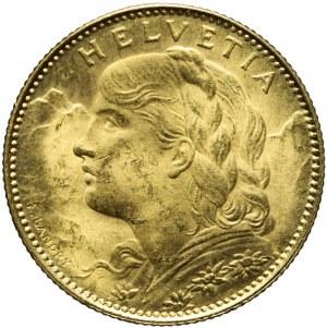 Szwajcaria, 10 franków 1922, mennicze