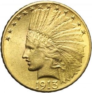Stany Zjednoczone Ameryki (USA), 10 dolarów 1913, Indianin, złoto