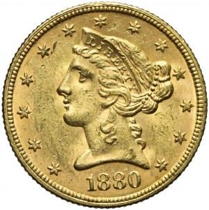 Stany Zjednoczone Ameryki (USA), 5 dolarów Liberty Head, 1880, Filadelfia