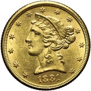 Stany Zjednoczone Ameryki (USA), 5 dolarów Liberty Head, 1881, Filadelfia