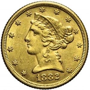 Stany Zjednoczone Ameryki (USA), 5 dolarów Liberty Head, 1882, Filadelfia