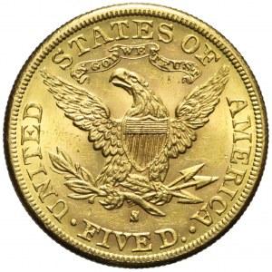 Stany Zjednoczone Ameryki (USA), 5 dolarów Liberty Head, 1887, San Francisco, bardzo ładne