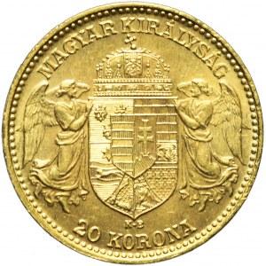 Węgry, Franciszek Józef, 20 koron 1914, Kremnica, piękne
