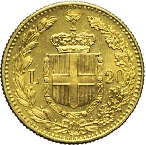 Włochy, Umberto I, 20 lirów 1881, bardzo ładne