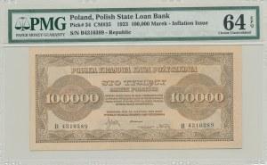 100.000 marek polskich 1923, rzadka w UNC ser. B