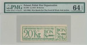 RR-, 20 koron 1918, Bon na cele patriotyczne, Całość - Niepodległość