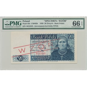 20 złotych 1939, Emigracja, ser. A012345 WZÓR