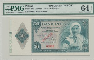 50 złotych 1939, Emigracja, USA, SPECIMEN 00000, margines SIDE GUIDE