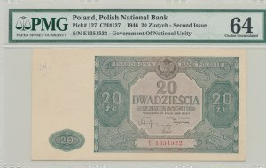 20 złotych 1946, ser. E, duża litera