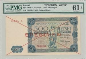 500 złotych 1947, ser. X, SPECIMEN, druga połowa numeracja 789000