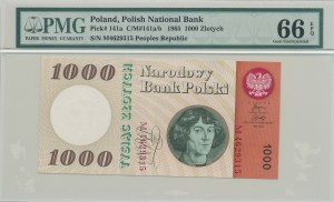 1.000 złotych 1965, rzadka seria M z rzeczywistego obiegu
